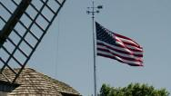 American Flag and Windmill Stock Footage