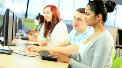Diverse young classmates networking in hub  - stock footage