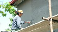 Stock Video Footage of Plasterer Working