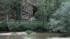 Spain Castile Rio Duraton stream and cave Stock Footage