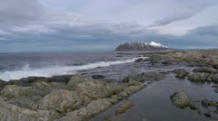 Rocky shoreline.  the Norwegian coast at Flø near Ulsteinvik - stock footage