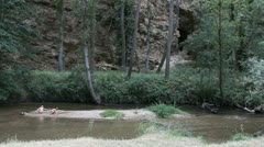 Spain Castile Rio Duraton stream children cave 1 Stock Footage