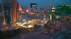 Las Vegas, time-lapse aerial of the strip dusk to dark Stock Footage