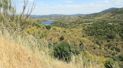 Spain Castile Valle de Iruelas lake and hills Stock Footage