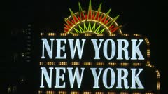 The Vegas strip, NYNY neon sign, #2 Stock Footage