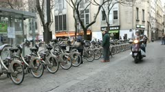 Paris city bike rental Stock Footage