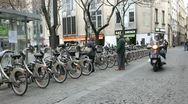 Stock Video Footage of Paris city bike rental