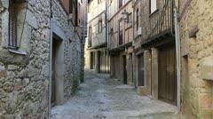 Spain La Alberca narrow street 2 Stock Footage
