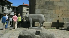 Spain La Alberca pig statue Stock Footage