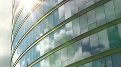 Time lapse Clouds reflected on Building #4 Stock Footage