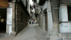 Spain La Alberca tourists in street 2 Stock Footage