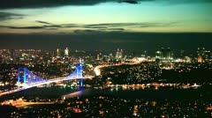 Istanbul night city and Bosphorus Bridge 1 HD 1080p Stock Footage