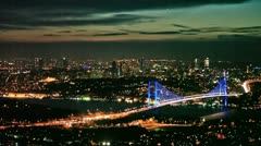 Istanbul night city and Bosphorus Bridge 3 HD 1080p Stock Footage