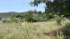 Spain Castile Valle de Iruelas meadow chapel 2 Stock Footage
