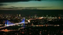 Istanbul night city and Bosphorus Bridge 4 HD 1080p Stock Footage