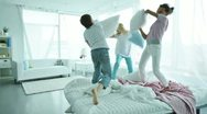 Stock Video Footage of Pillow fighters