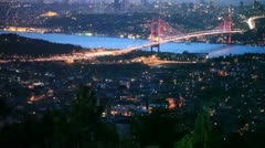 Istanbul night city and Bosphorus Bridge 10 HD 1080p Stock Footage