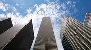 Skyscrapers high buildings time lapse cloud New York City business office Stock Footage
