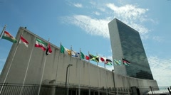 Stock Video Footage of UN United Nations NY New York headquater tilt down