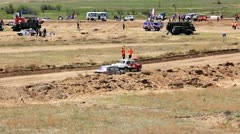 Rally cross of Lada classic cars in russian province Stock Footage