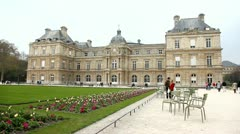 """The Grand Luxembourg"", Maria de Medicis palace in Luxembourg Garden Stock Footage"