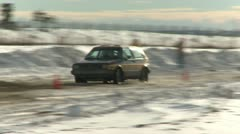 Motorsports, winter rallycross VW Golf Stock Footage