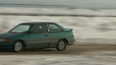 Motorsports, winter rallycross ford escort crazy bumps Stock Footage