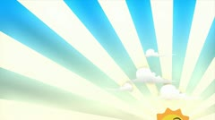 Cartoon look 3d animation, happy sun rising. Stock Footage