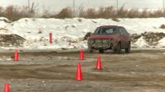 Motorsports, winter rallycross VW Golf Stock Footage