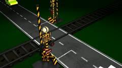 Railroad crossing animation, gate, light, train, car, traffic, concept. Stock Footage