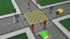 Road traffic light concept animation, car, system. Stock Footage