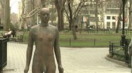 City Sculpture 1 Antony Gormley Madison Square Park Stock Footage