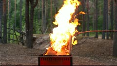 Burning carton box, second part Stock Footage