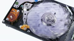 Hard disk drive (hdd) data loss concept with ashes blowing up Stock Footage