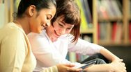 Young female studying knowledge on internet   Stock Footage