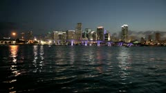 Downtown Miami at night - stock footage