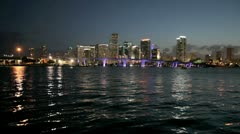 Downtown Miami at night Stock Footage