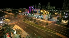Bird eye view of Miami Beach at night Stock Footage