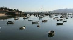Spain Galicia Baiona many boats castle wall 2 Stock Footage