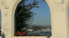 Spain Galicia Baiona harbor arch 1 Stock Footage