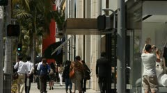 SHOPPERS ON RODEO DRIVE - stock footage