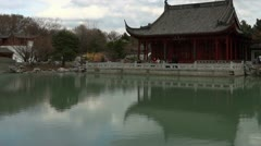 Chinese Temple And Lake Stock Footage