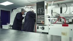 Wide shot pan of cleanroom - stock footage