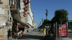 Spain Galicia Baiona sidewalk 1 Stock Footage