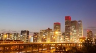 Stock Video Footage of 4k resolution Beijing Central Business District sunset time lapse