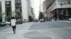 Downtown traffic intersection in Philadelphia, USA Stock Footage