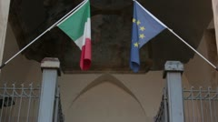 European and italian flags Stock Footage
