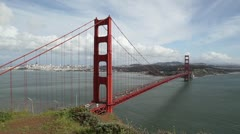 Golden Gate Bridge with City in Background Stock Footage