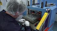 Technician Works Molding Machine in Cleanroom Stock Footage