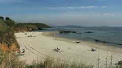 Spain Galicia Playa Pregueira tracks 9 Stock Footage